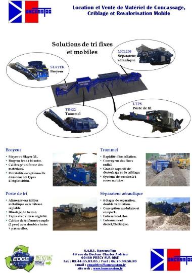 solution, tri, fixe, mobile, recyclage, location, trommel, broyeur, séparateur aéraulique, poste de tri, achat, vente, location