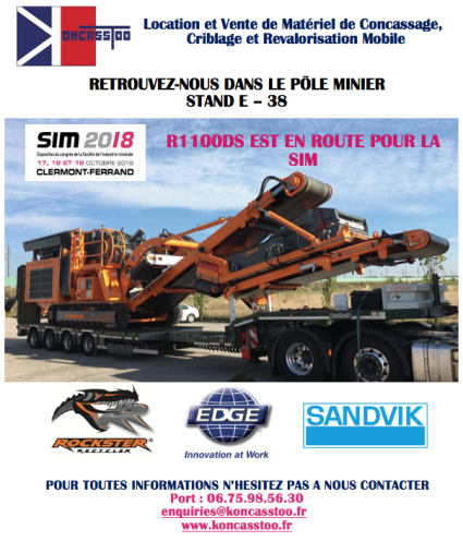 SALON, SIM, MINES, CARRIERES, EXPOSITION, CONCASSEUR, CRIBLE, SCALPEUR, KONCATTO, ROCKSTER, EDGE, SANDVIK, MOBILE